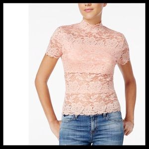 guess // shayna lace sheer mock neck pink top